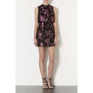 NEW Topshop 60's Crop Floral Jacquard Dress